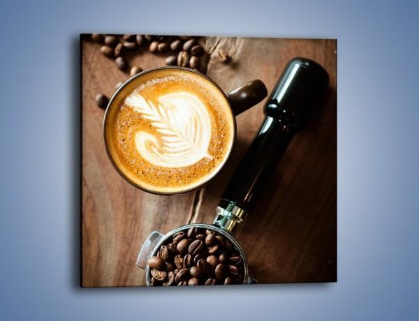 Obraz na płótnie – Kawa z idealnym wzorem – jednoczęściowy kwadratowy JN685