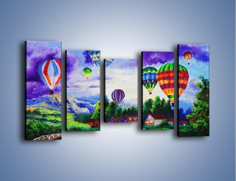 Obraz na płótnie – Lot kolorowym balonem – pięcioczęściowy GR482W2