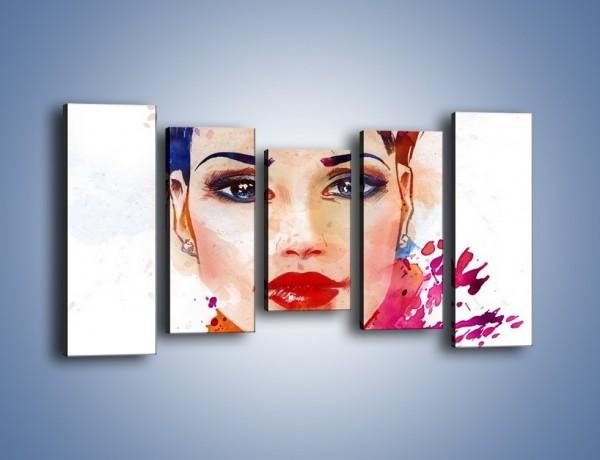 Obraz na płótnie – Piękna kobieta w kolorze – pięcioczęściowy GR499W2