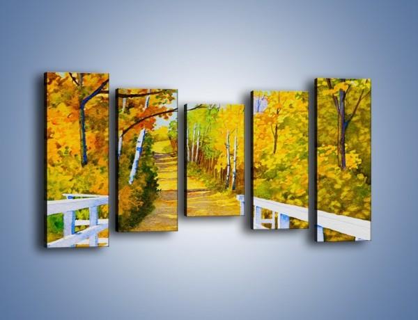 Obraz na płótnie – Alejką w słoneczna jesień – pięcioczęściowy GR540W2