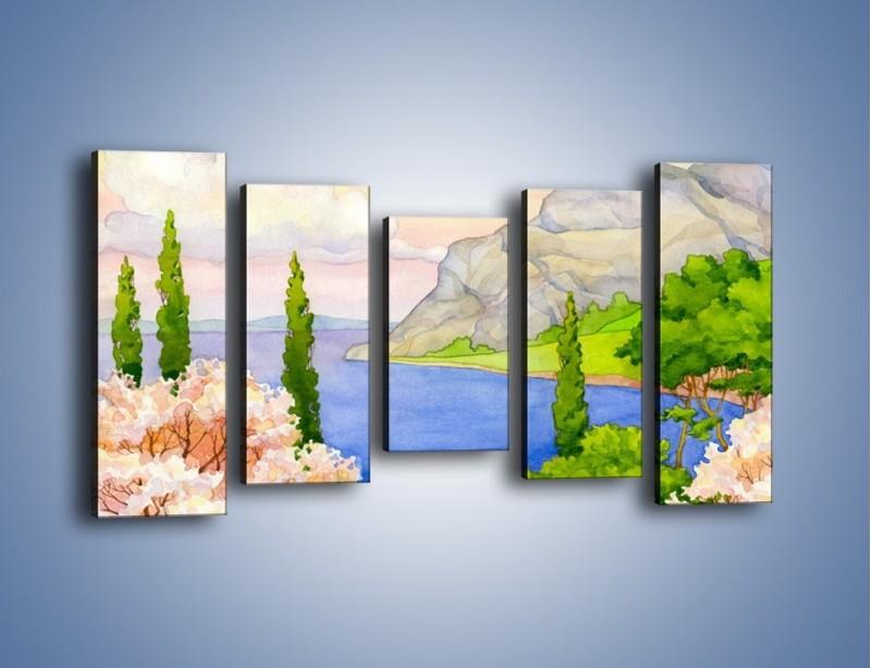 Obraz na płótnie – Krajobraz jak z pocztówki – pięcioczęściowy GR541W2