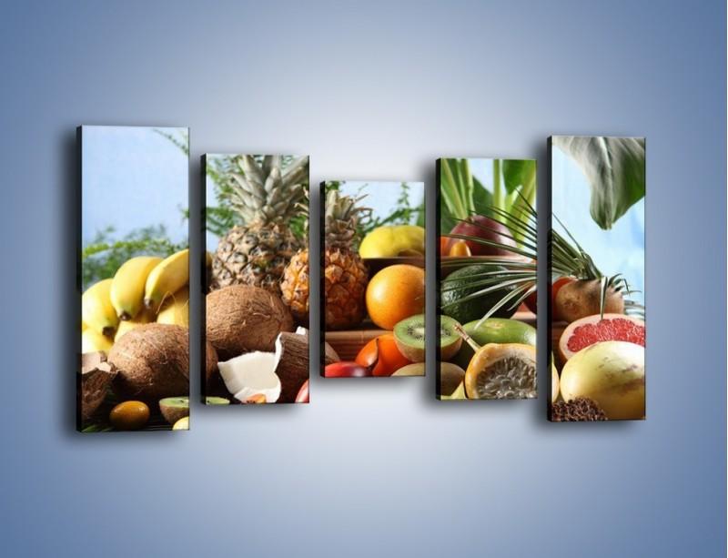 Obraz na płótnie – Mix owocowy na drewnianym stole – pięcioczęściowy JN009W2