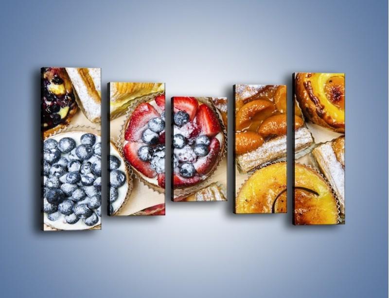 Obraz na płótnie – Kolorowe wypieki z dodatkiem owoców – pięcioczęściowy JN032W2