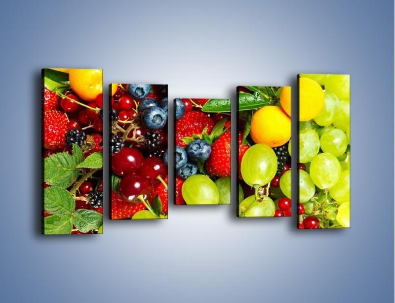 Obraz na płótnie – Wymieszane kolorowe owoce – pięcioczęściowy JN037W2