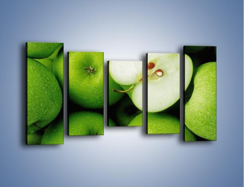 Obraz na płótnie – Zielone jabłuszka – pięcioczęściowy JN039W2