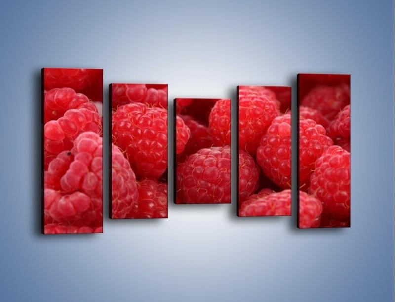 Obraz na płótnie – Zdrowe dojrzałe maliny – pięcioczęściowy JN045W2