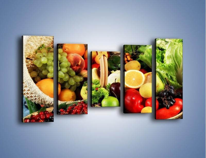 Obraz na płótnie – Kosz pełen owocowo-warzywnego zdrowia – pięcioczęściowy JN059W2