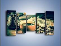 Obraz na płótnie – Czarna kawa arabica – pięcioczęściowy JN064W2