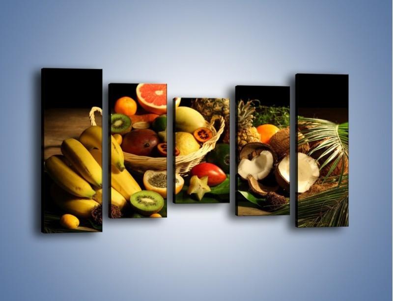 Obraz na płótnie – Kosz egzotycznych owoców – pięcioczęściowy JN074W2