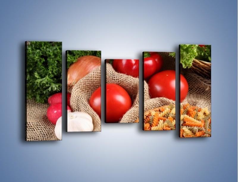 Obraz na płótnie – Makaron z warzywami – pięcioczęściowy JN076W2