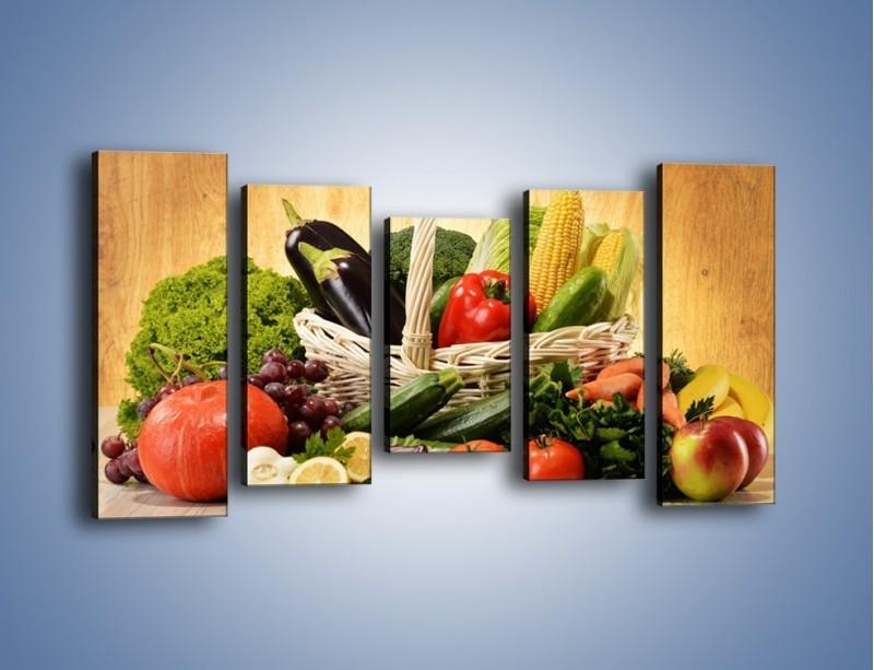 Obraz na płótnie – Kosz pełen warzywnych witamin – pięcioczęściowy JN081W2
