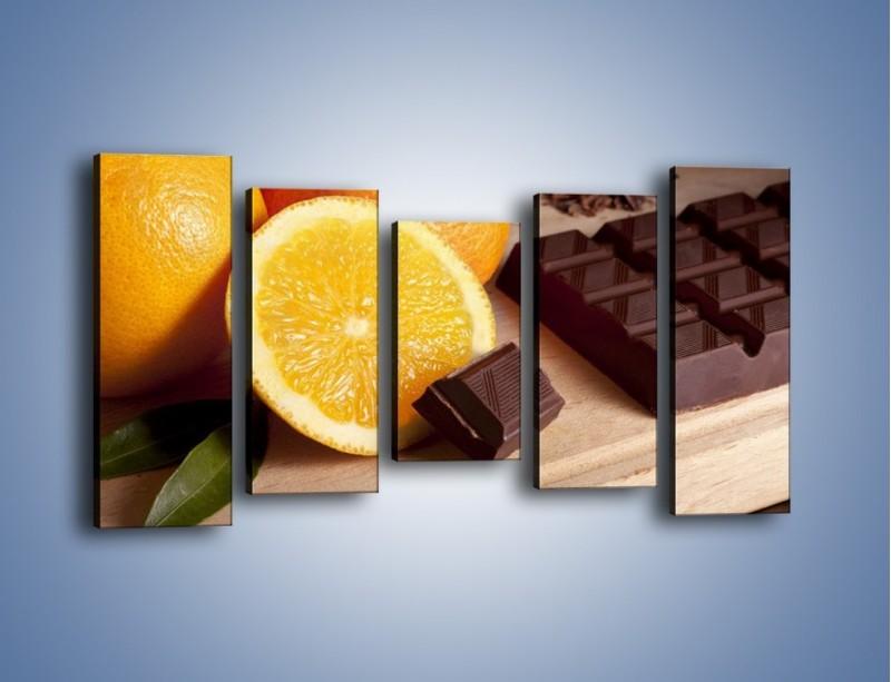Obraz na płótnie – Czekoladowo-pomarańczowa rozkosz – pięcioczęściowy JN094W2