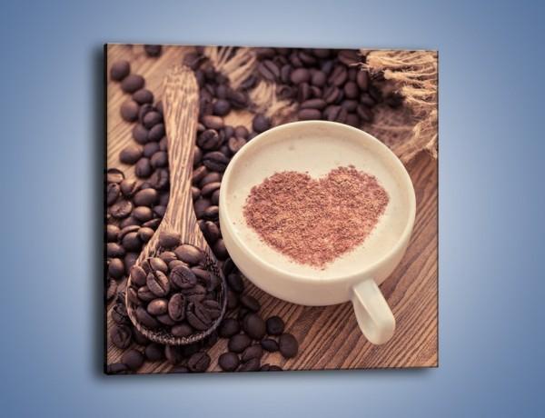 Obraz na płótnie – Idealne serce na kawie – jednoczęściowy kwadratowy JN689