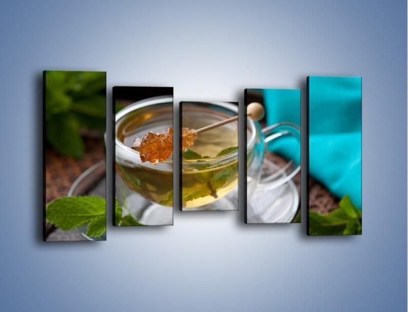 Obraz na płótnie – Oczyszczająca zielona herbata – pięcioczęściowy JN104W2