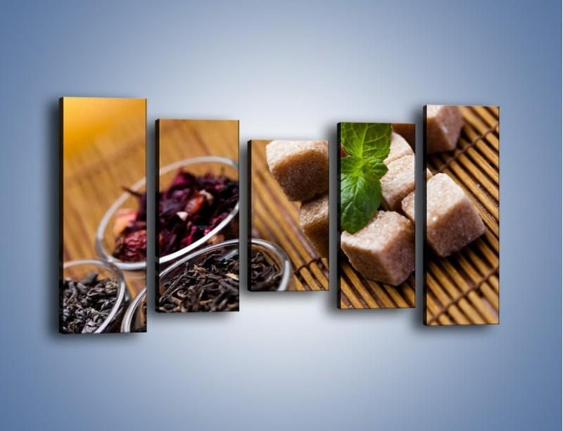 Obraz na płótnie – Ususzone bogactwa natury do herbaty – pięcioczęściowy JN105W2