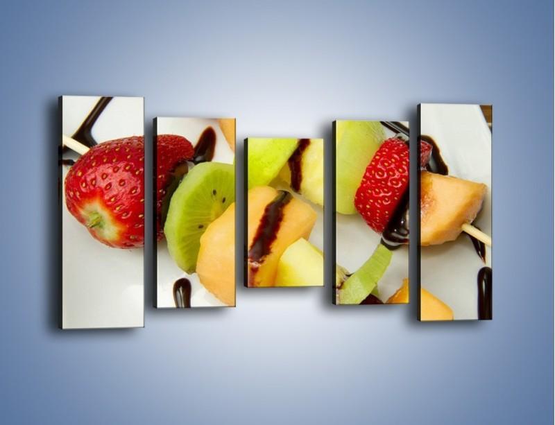 Obraz na płótnie – Czekoladowo-owocowe szaszłyki – pięcioczęściowy JN112W2
