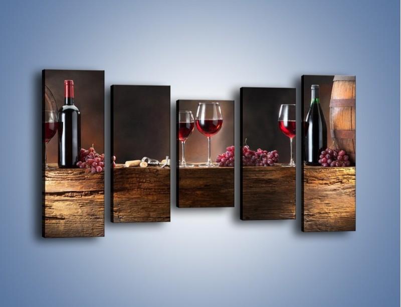 Obraz na płótnie – Beczuszki czerwonego wina – pięcioczęściowy JN142W2