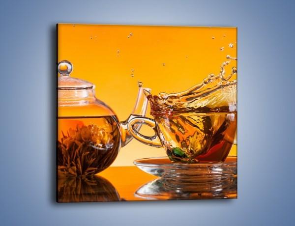 Obraz na płótnie – Roztańczona herbata o zachodzie słońca – jednoczęściowy kwadratowy JN690