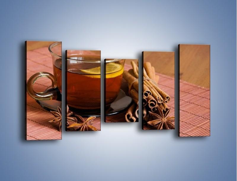 Obraz na płótnie – Rozgrzewająca filiżanka herbaty – pięcioczęściowy JN266W2