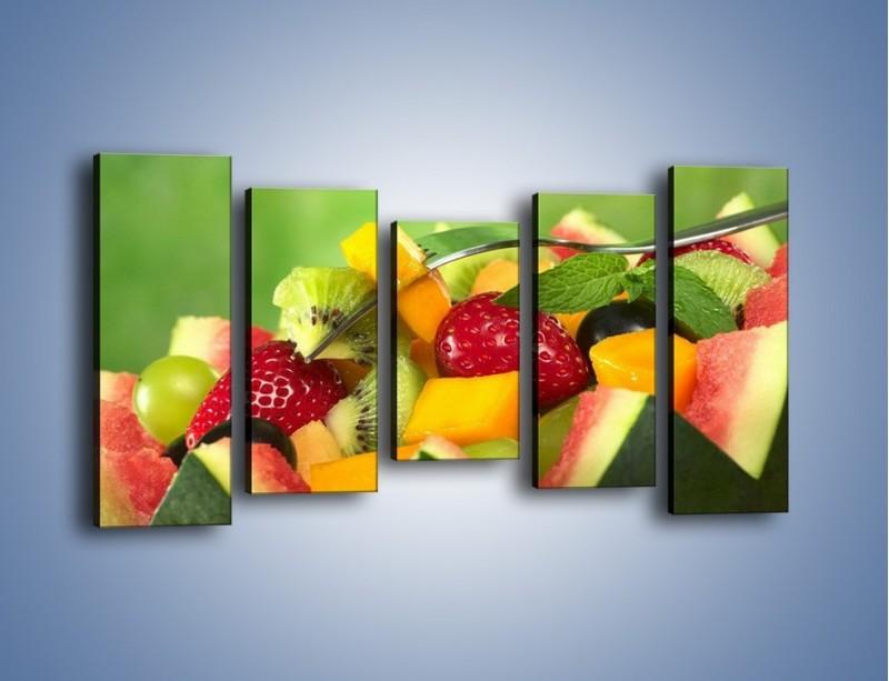 Obraz na płótnie – Arbuzowa misa z owocami – pięcioczęściowy JN274W2