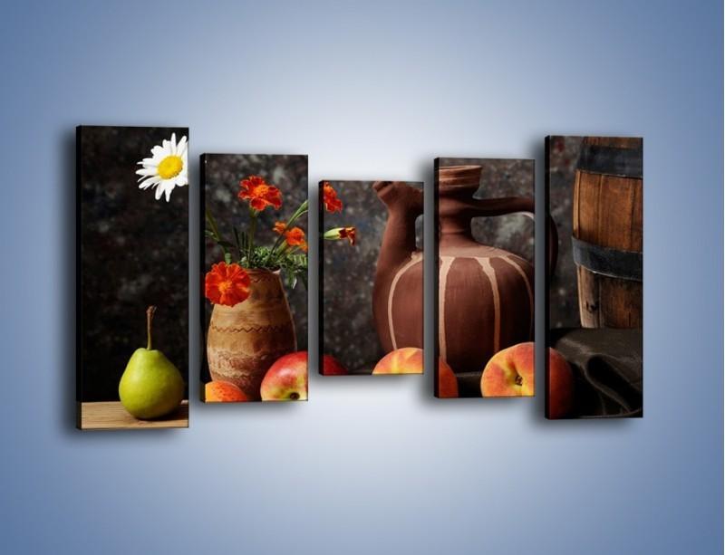 Obraz na płótnie – Kwiaty wśród owoców – pięcioczęściowy JN280W2