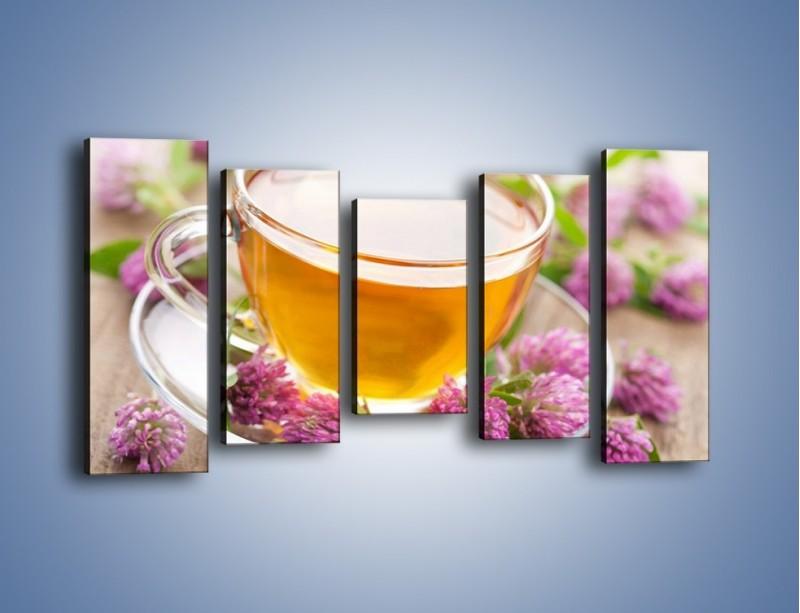 Obraz na płótnie – Herbata z kwiatami – pięcioczęściowy JN283W2