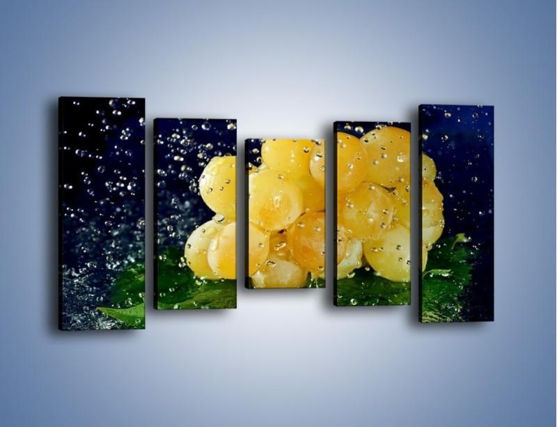 Obraz na płótnie – Słodkie winogrona z miętą – pięcioczęściowy JN286W2