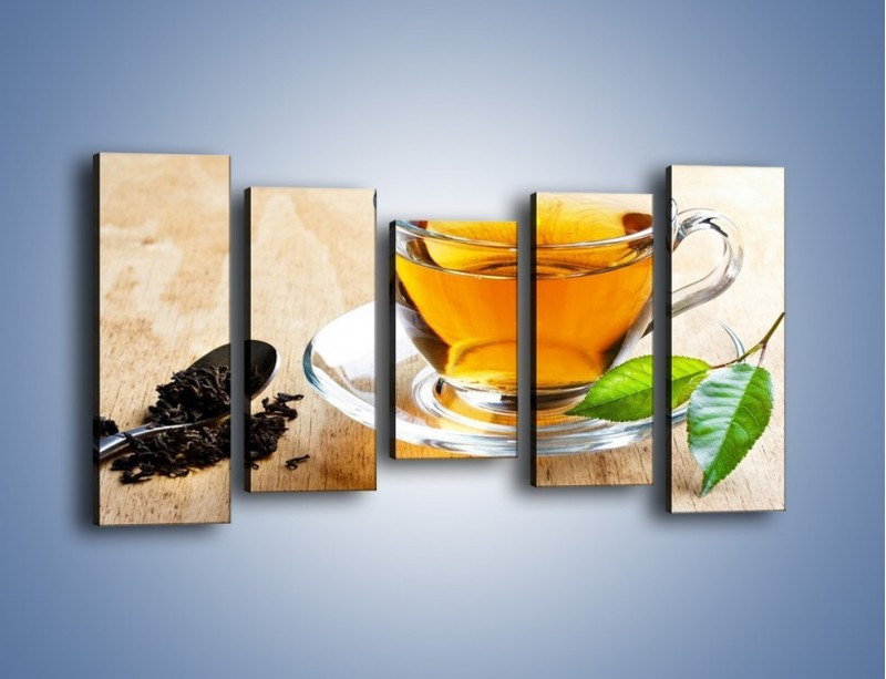 Obraz na płótnie – Listek mięty dla orzeźwienia herbaty – pięcioczęściowy JN290W2
