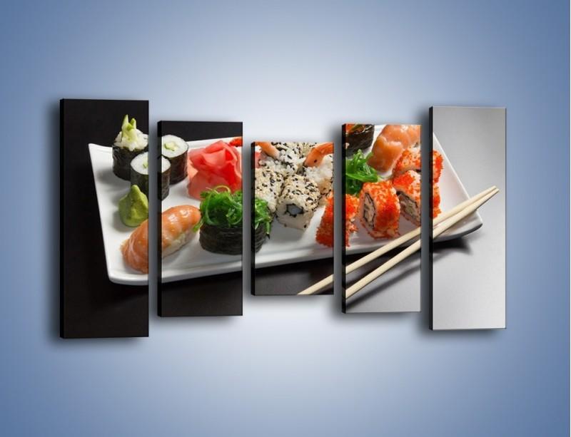 Obraz na płótnie – Kuchnia azjatycka na półmisku – pięcioczęściowy JN295W2