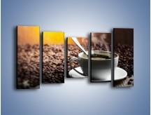 Obraz na płótnie – Aromatyczna filiżanka kawy – pięcioczęściowy JN298W2