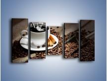 Obraz na płótnie – Czarna palona kawa – pięcioczęściowy JN311W2