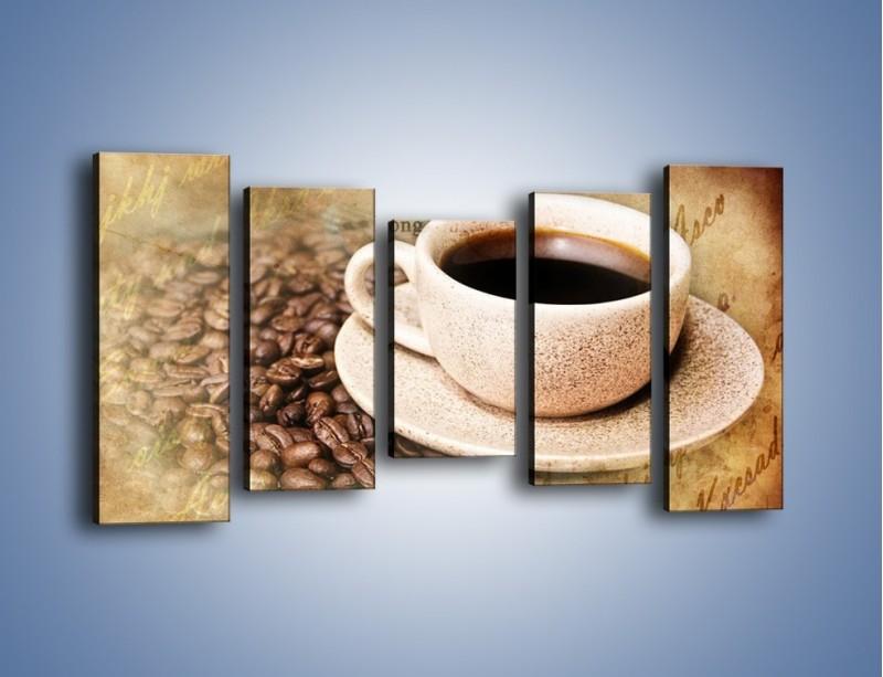 Obraz na płótnie – List przy filiżance kawy – pięcioczęściowy JN347W2
