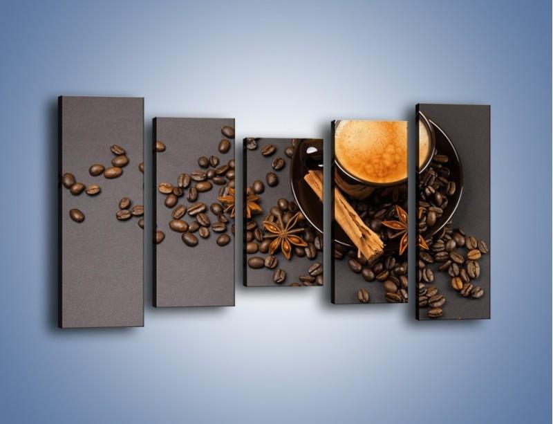 Obraz na płótnie – Kawa z goździkiem – pięcioczęściowy JN349W2
