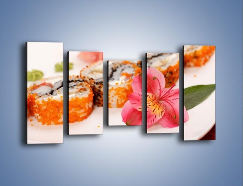 Obraz na płótnie – Sushi z kwiatem – pięcioczęściowy JN354W2