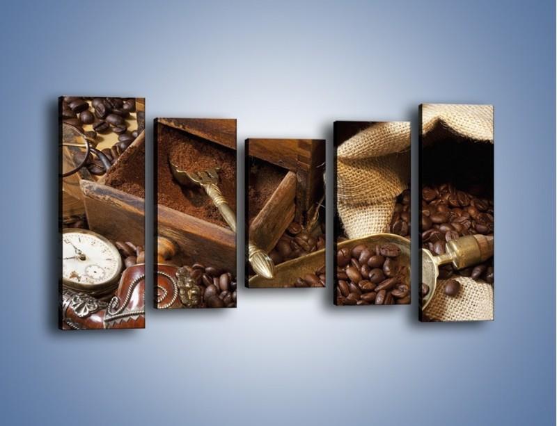 Obraz na płótnie – Szuflada pełna kawy – pięcioczęściowy JN356W2
