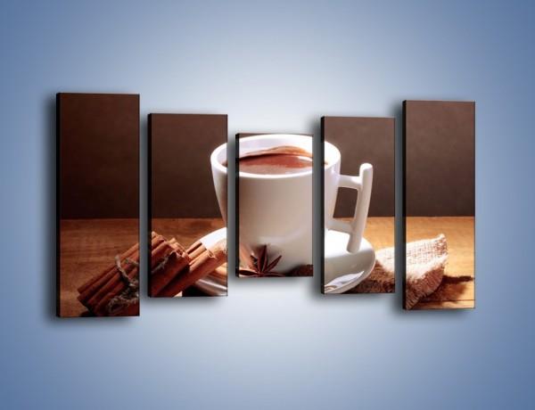 Obraz na płótnie – Gorąca czekolada z cynamonem – pięcioczęściowy JN362W2