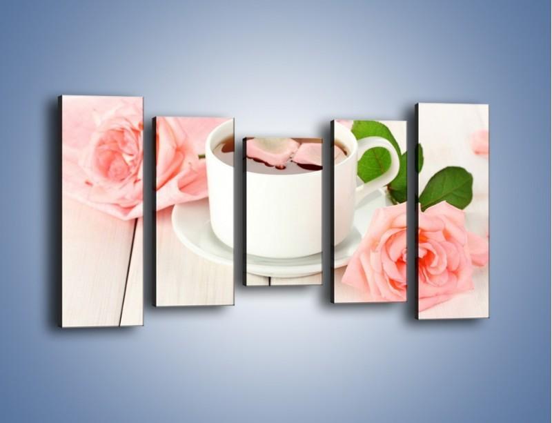 Obraz na płótnie – Herbata wśród róż – pięcioczęściowy JN369W2