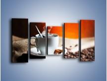 Obraz na płótnie – Aromatyczny zapach kawy – pięcioczęściowy JN374W2