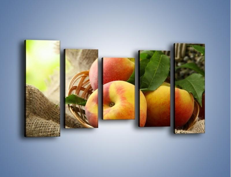 Obraz na płótnie – Dojrzałe jabłka w koszu – pięcioczęściowy JN390W2