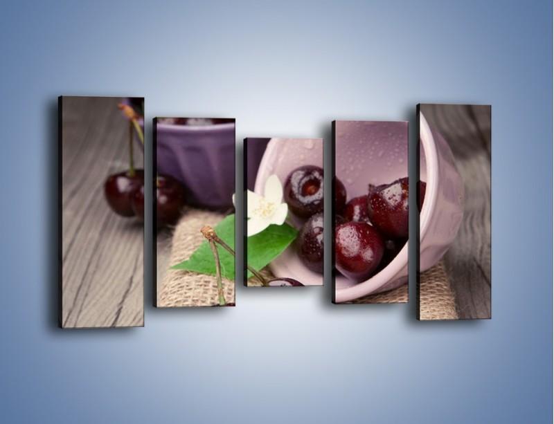 Obraz na płótnie – Wiśnie w małych pucharkach – pięcioczęściowy JN399W2