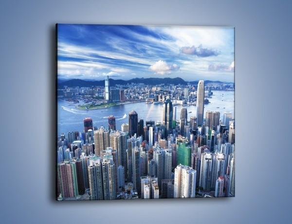 Obraz na płótnie – Miasto portowe pod błękitnym niebem – jednoczęściowy kwadratowy AM187