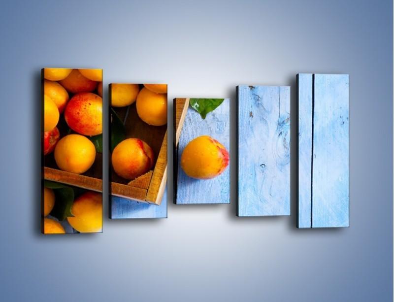 Obraz na płótnie – Brzoskwinie w drewnianej skrzyni – pięcioczęściowy JN404W2