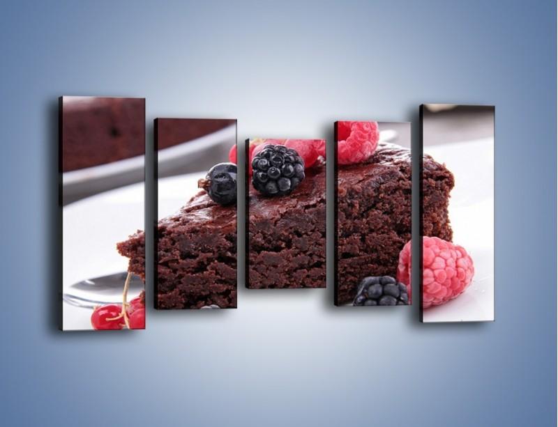 Obraz na płótnie – Czekoladowe brownie z owocami – pięcioczęściowy JN408W2