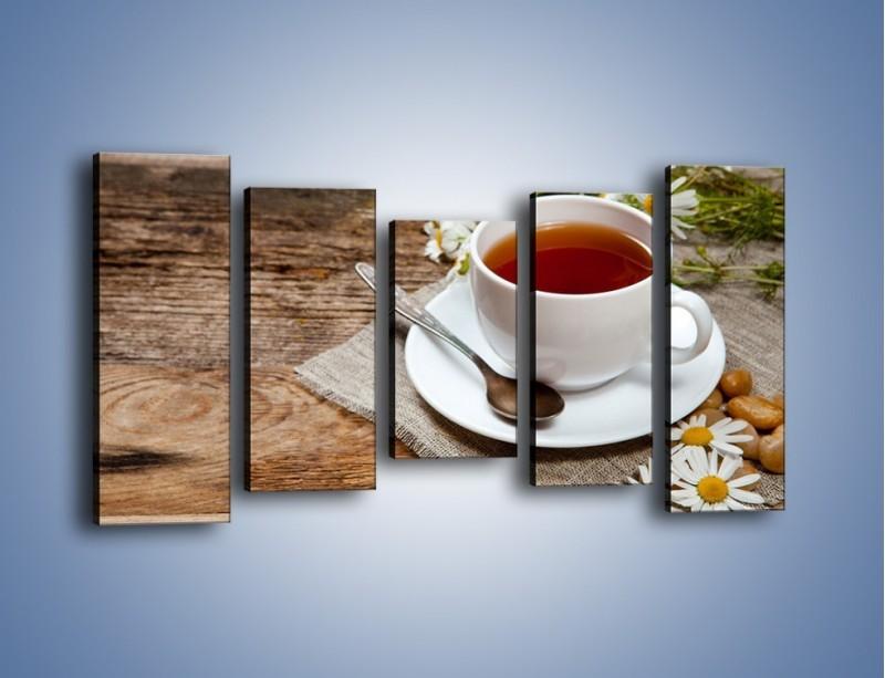 Obraz na płótnie – Herbata wśród stokrotek – pięcioczęściowy JN413W2