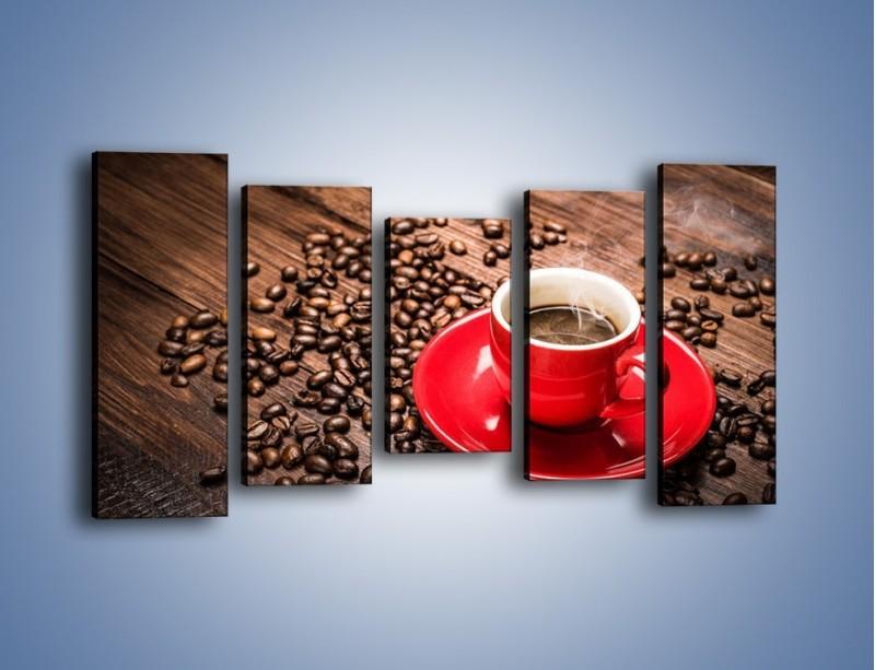 Obraz na płótnie – Kawa w czerwonej filiżance – pięcioczęściowy JN441W2