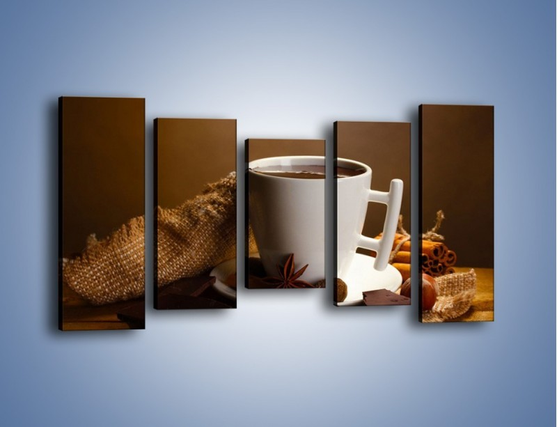 Obraz na płótnie – Gorąca czekolada z dodatkami – pięcioczęściowy JN452W2