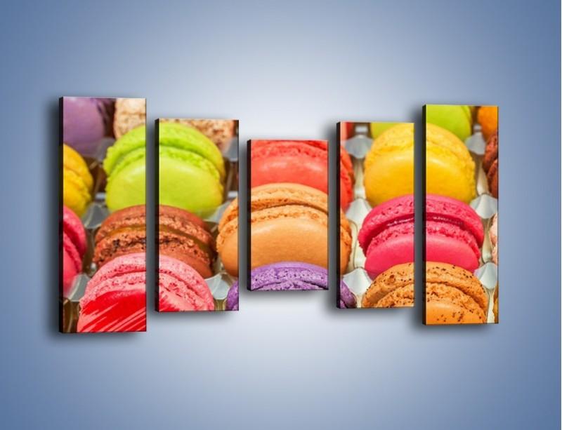 Obraz na płótnie – Słodkie babeczki w kolorach tęczy – pięcioczęściowy JN458W2