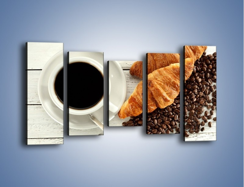 Obraz na płótnie – Kawa na białym stole – pięcioczęściowy JN462W2