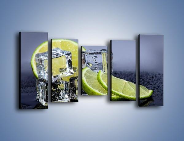 Obraz na płótnie – Plastry limonki o zmroku – pięcioczęściowy JN496W2