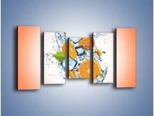 Obraz na płótnie – Pomarańczowe trio w powietrzu – pięcioczęściowy JN499W2